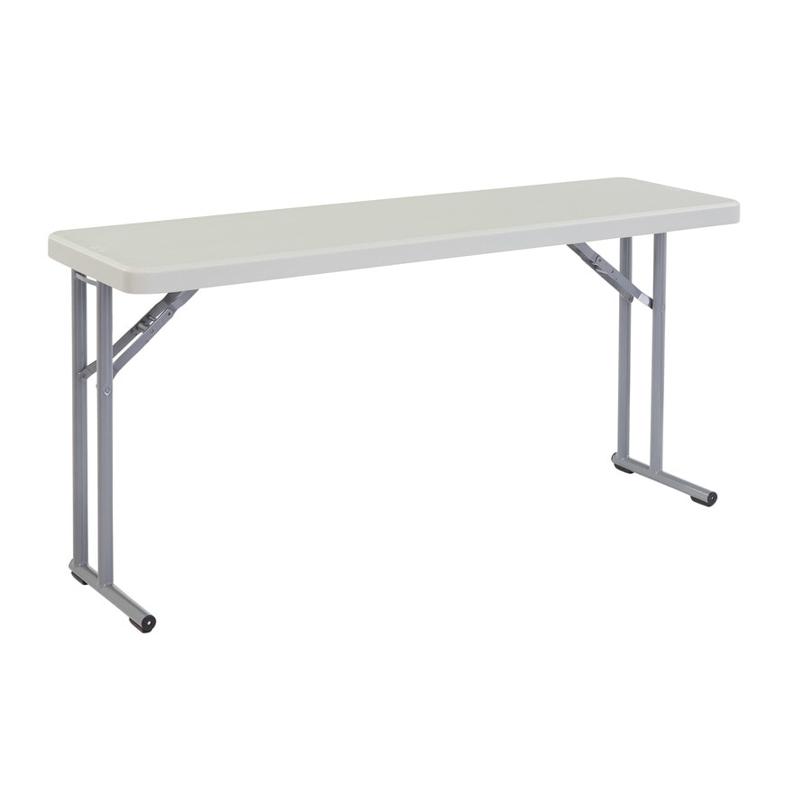 National Public Seating 60-in x 18-in Rectangle Steel Lightly Spotted Grey Top with Charcoal Grey Textured Frame and Legs Folding Table