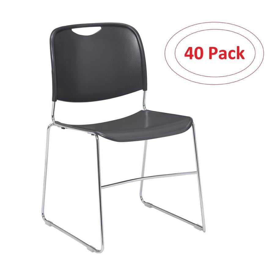National Public Seating 40-Piece Chrome Frame Stackable Reception Chair