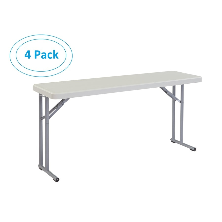 National Public Seating Set of 4 60-in x 18-in Rectangle Steel Lightly Spotted Grey Folding Tables