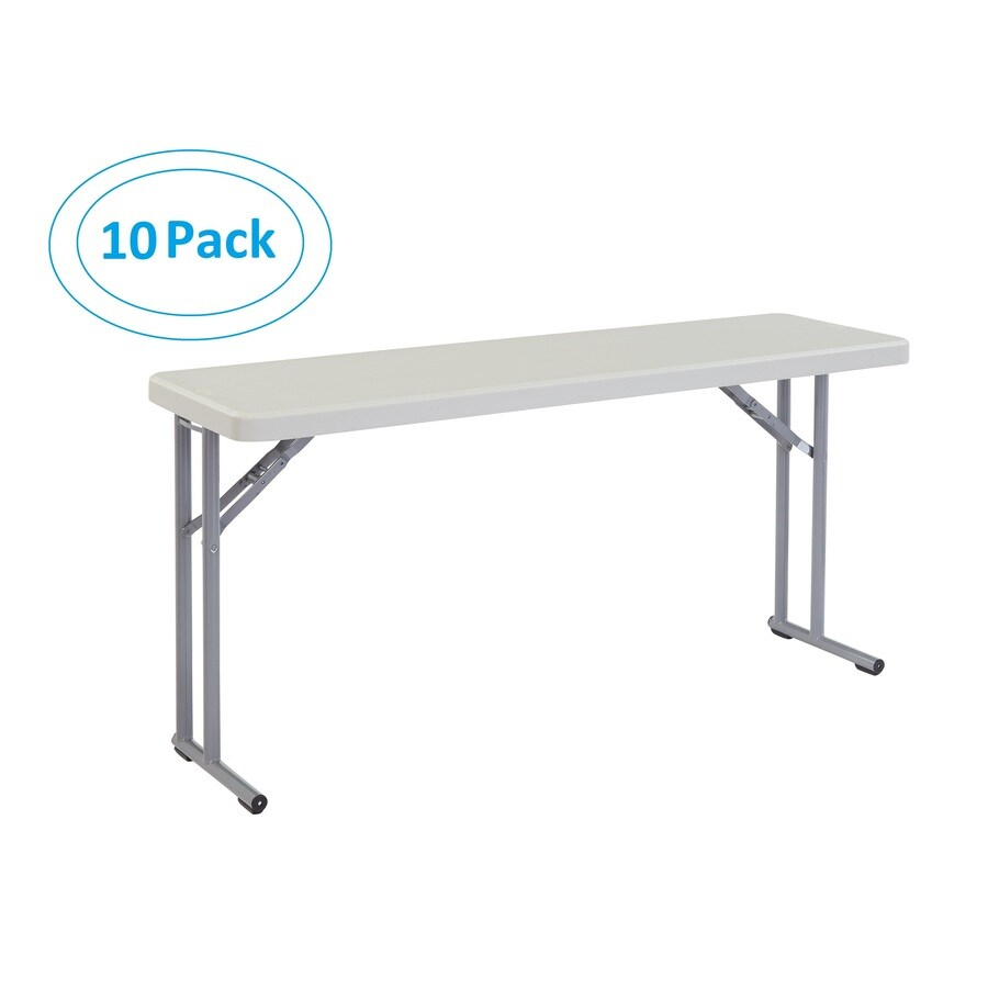 National Public Seating 10-Pack 60-in x 18-in Rectangle Steel Lightly Spotted Grey Folding Tables
