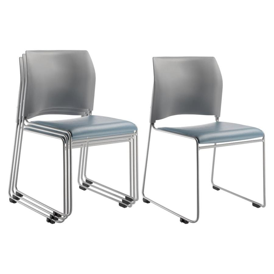 National public seating 4 piece silver powder coat frame stackable reception chairs