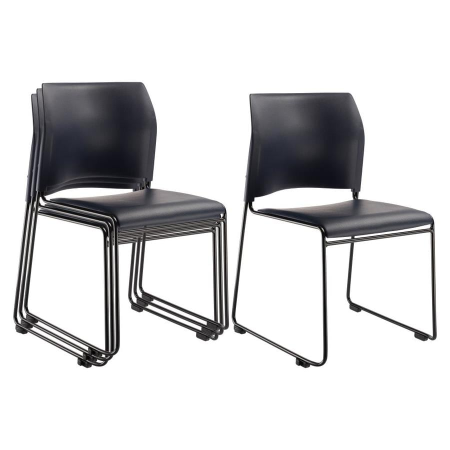 National Public Seating 4-Piece Black Powder Coat Frame Stackable Reception Chairs
