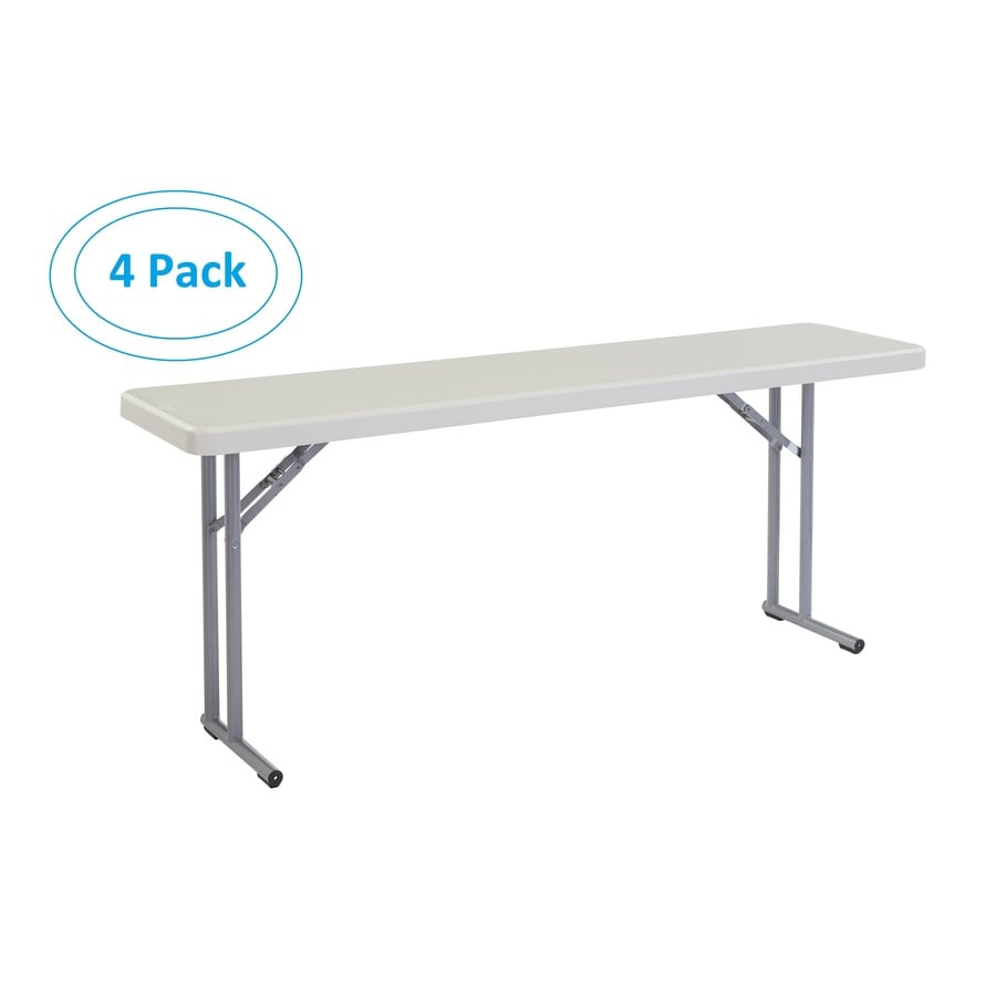 National Public Seating 4-Pack 72-in x 18-in Rectangle Steel Lightly Spotted Grey Folding Tables