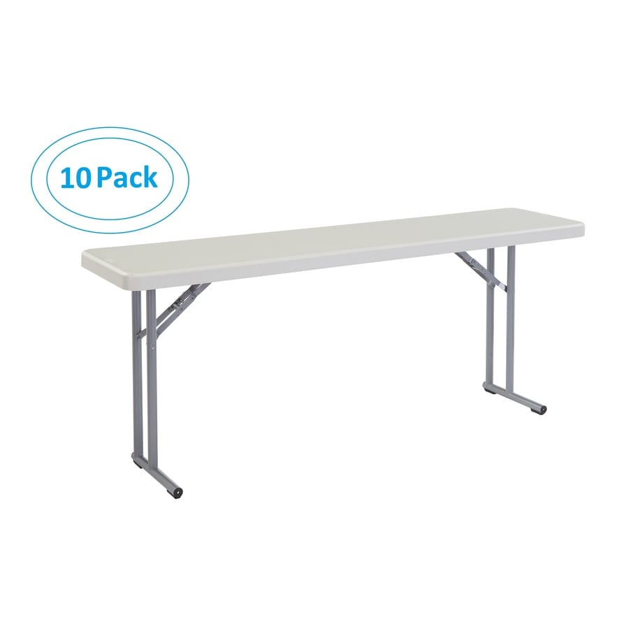 National Public Seating 10-Pack 72-in x 18-in Rectangle Steel Lightly Spotted Grey Folding Tables