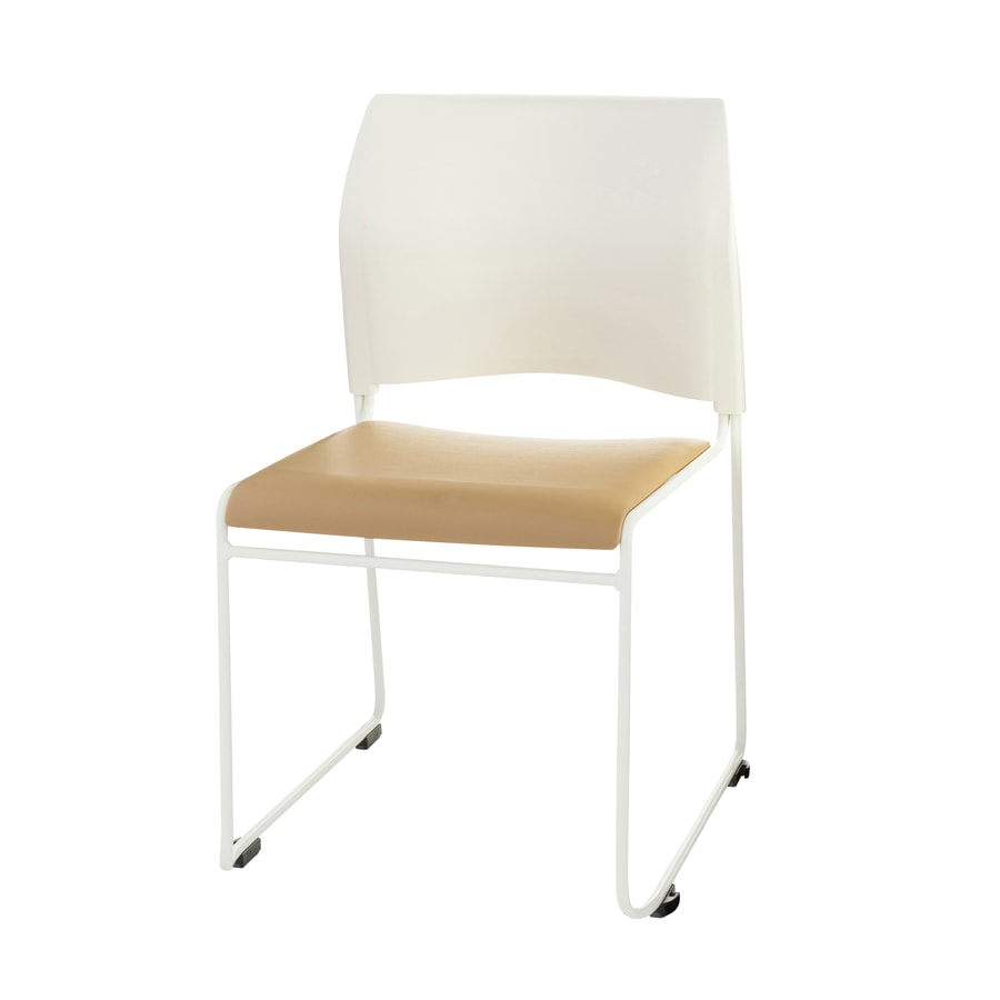 National Public Seating 4-Piece White Powder Coat Frame Stackable Reception Chairs