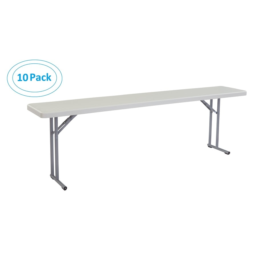 National Public Seating 10-Pack 96-in x 18-in Rectangle Steel Lightly Spotted Grey Folding Tables