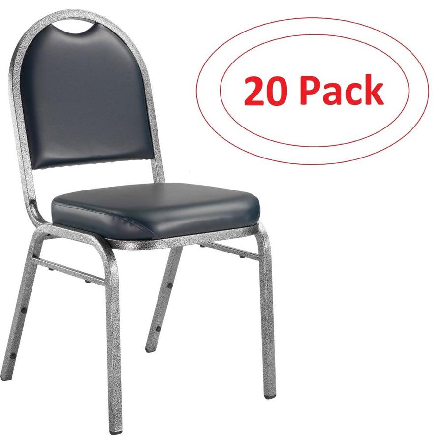 National Public Seating 20-Piece Silver Vein Powder Coat Frame Stackable Reception Chairs