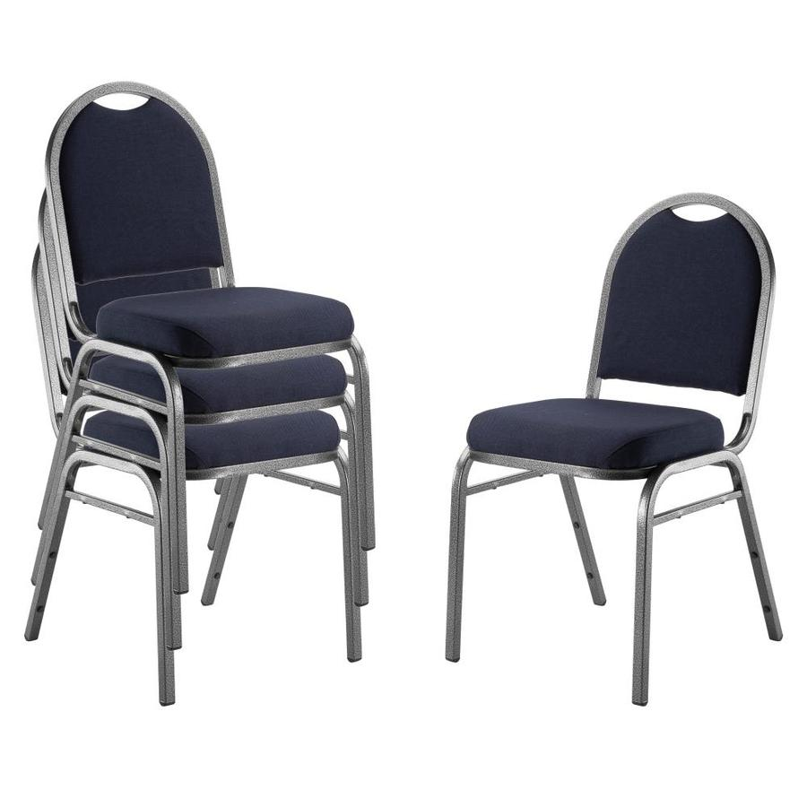 National Public Seating 4-Piece Silver Vein Powder Coat Frame Stackable Reception Chairs