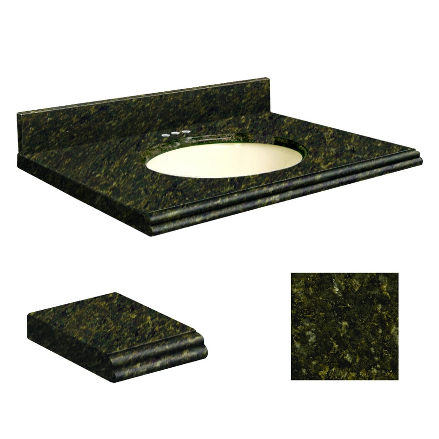 Transolid Uba Verde  Granite Undermount Single Sink Bathroom Vanity Top (Common: 25-in x 19-in; Actual: 25-in x 19.25-in)