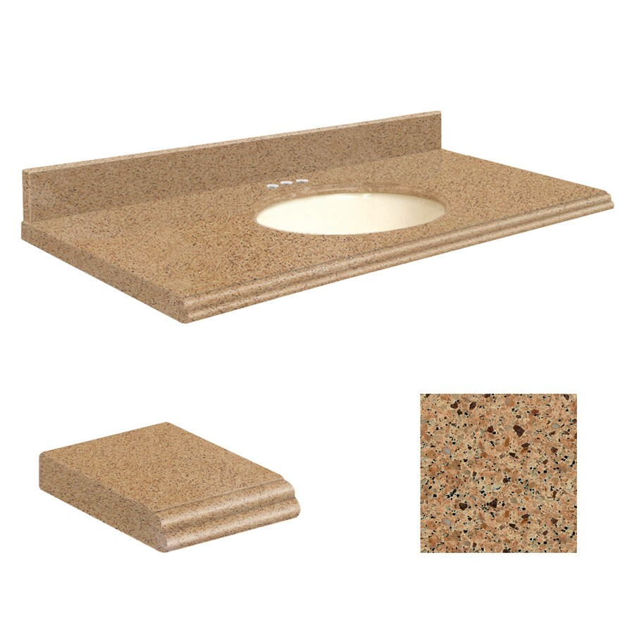 Transolid Umbria Brown Quartz Undermount Single Sink Bathroom Vanity Top (Common: 25-in x 19-in; Actual: 25-in x 19.2500-in)