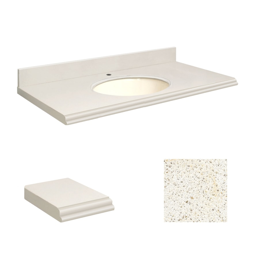 Transolid Milan White Quartz Undermount Single Sink Bathroom Vanity Top (Common: 25-in x 19-in; Actual: 25-in x 19.25-in)