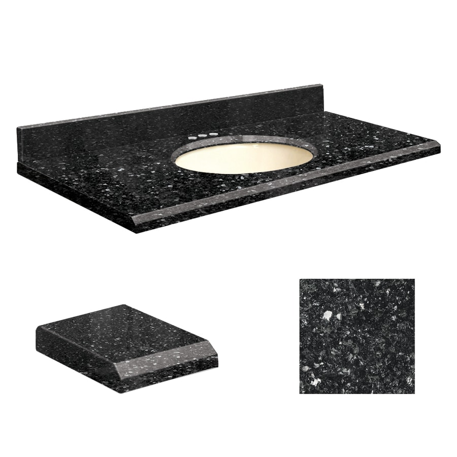 Transolid Notte Black Quartz Undermount Single Sink Bathroom Vanity Top (Common: 25-in x 19-in; Actual: 25-in x 19.2500-in)