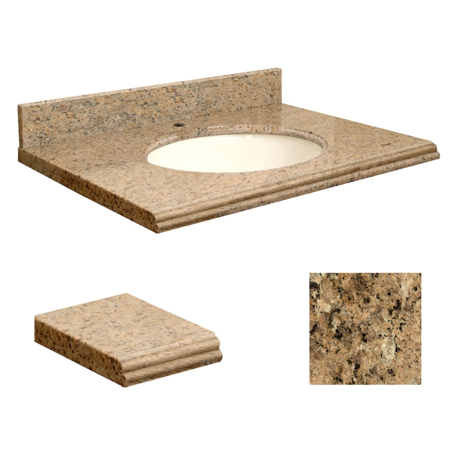 Transolid Giallo Veneziano Granite Undermount Single Sink Bathroom Vanity Top (Common: 25-in x 22-in; Actual: 25-in x 22.2500-in)
