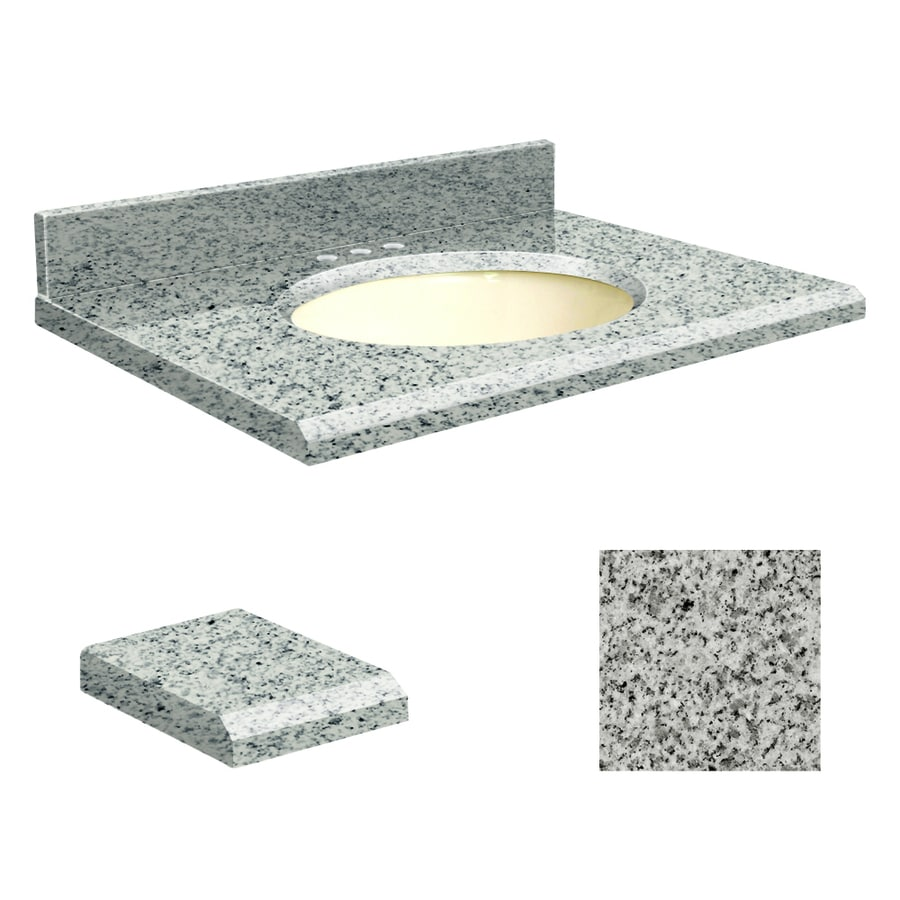 Transolid Rosselin White Granite Undermount Single Sink Bathroom Vanity Top (Common: 25-in x 22-in; Actual: 25-in x 22.25-in)