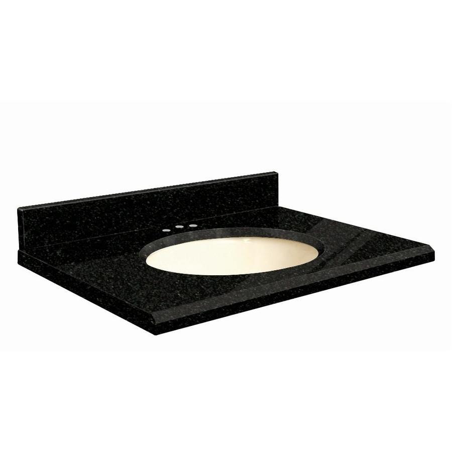 Transolid Absolute Black Granite Undermount Single Sink Bathroom Vanity Top (Common: 25-in x 22-in; Actual: 25-in x 22.25-in)