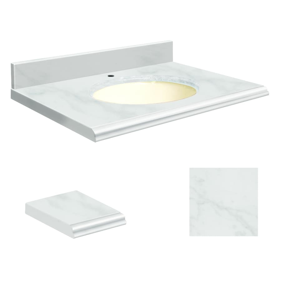 Transolid White Marble Natural Marble Undermount Single Sink Bathroom Vanity Top (Common: 25-in x 22-in; Actual: 25-in x 22.25-in)
