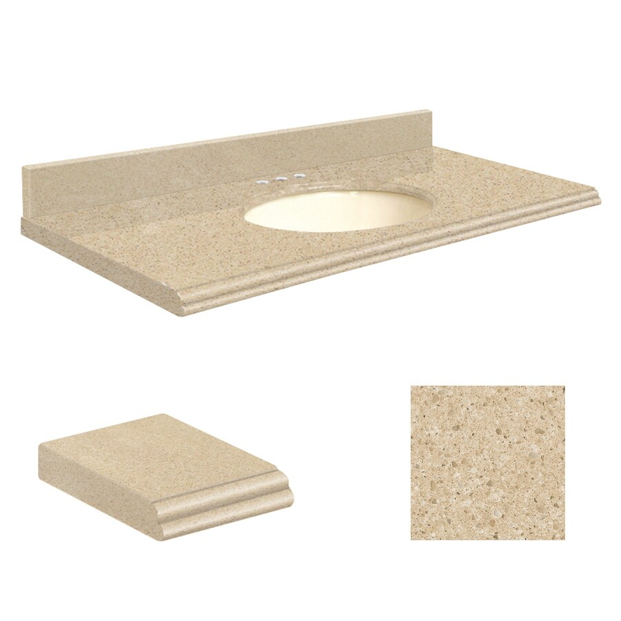 Transolid Durum Cream Quartz Undermount Single Sink Bathroom Vanity Top (Common: 25-in x 22-in; Actual: 25-in x 22.25-in)