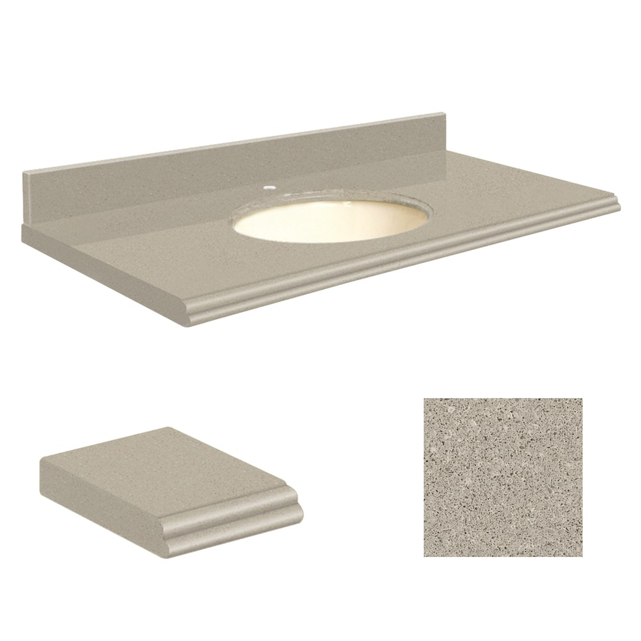 Transolid Olympia Gray Quartz Undermount Single Sink Bathroom Vanity Top (Common: 25-in x 22-in; Actual: 25-in x 22.25-in)