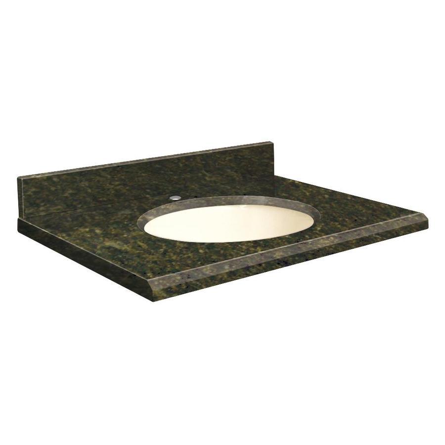 Transolid Uba Verde Granite Undermount Single Sink Bathroom Vanity Top (Common: 31-in x 19-in; Actual: 31-in x 19.25-in)