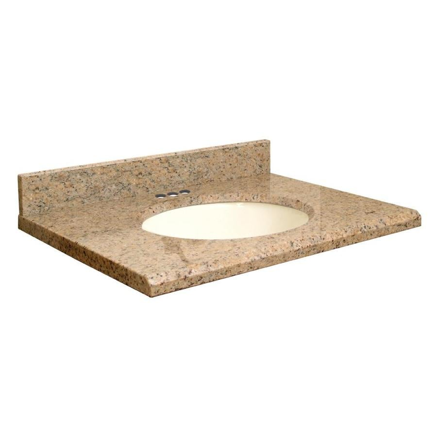 Transolid Giallo Veneziano Granite Undermount Single Sink Bathroom Vanity Top (Common: 31-in x 22-in; Actual: 31-in x 22.2500-in)