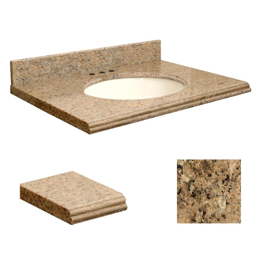 Transolid Giallo Veneziano Granite Undermount Single Sink Bathroom Vanity Top (Common: 31-in x 22-in; Actual: 31-in x 22.2500-in)