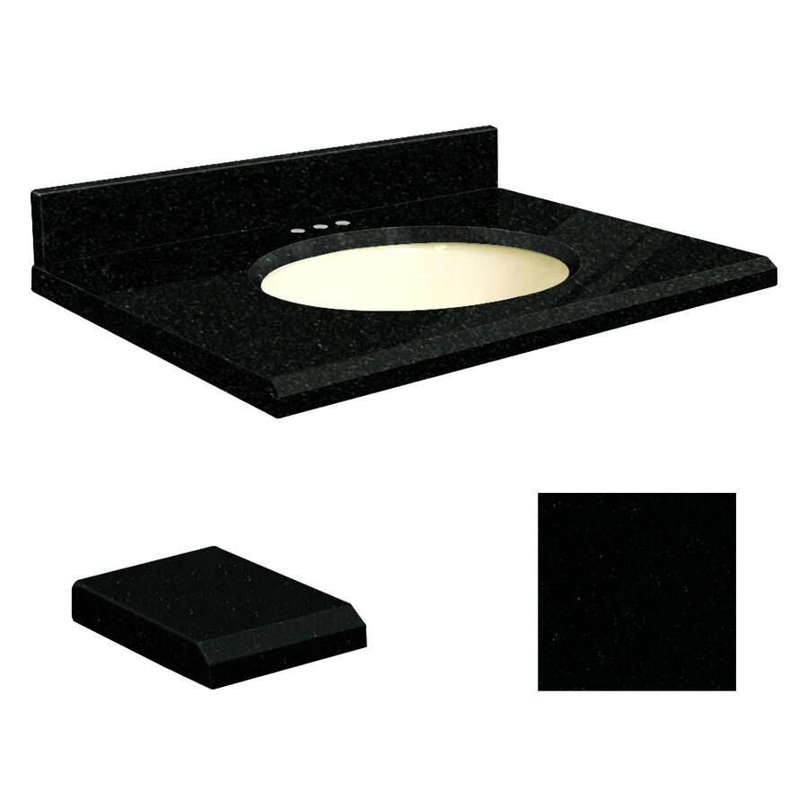 Transolid Absolute Black Granite Undermount Single Sink Bathroom Vanity Top (Common: 31-in x 22-in; Actual: 31-in x 22.25-in)