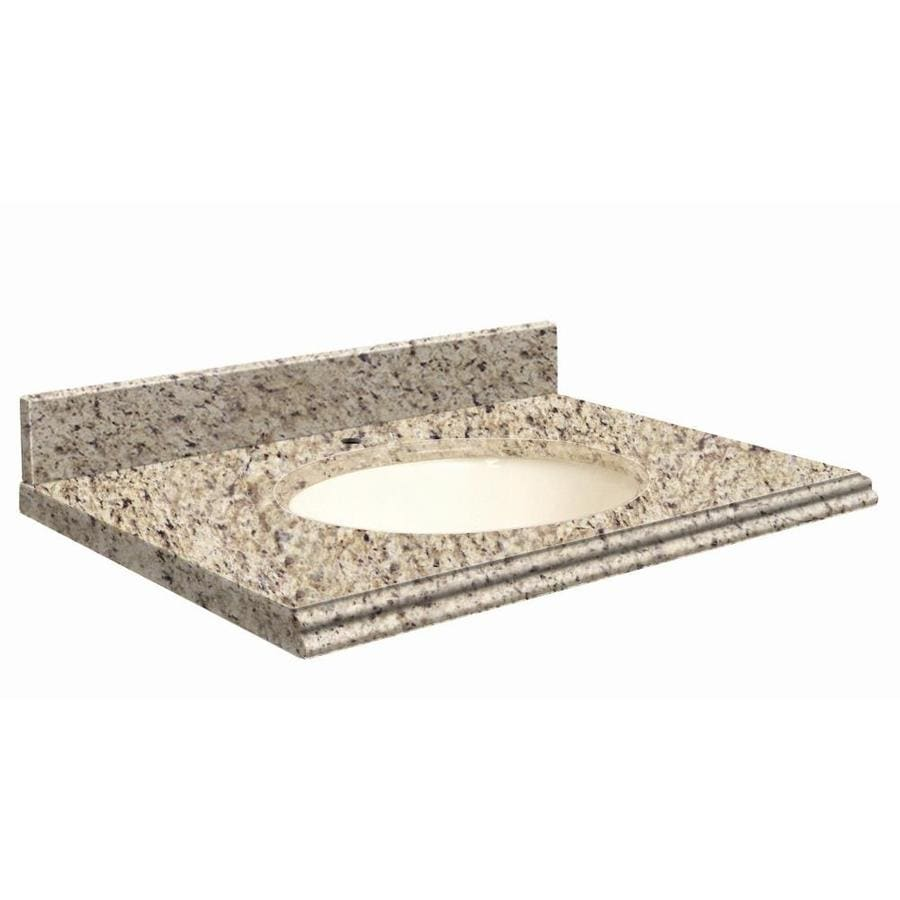 Transolid Giallo Ornamental Granite Undermount Single Sink Bathroom Vanity Top (Common: 37-in x 19-in; Actual: 37-in x 19.2500-in)