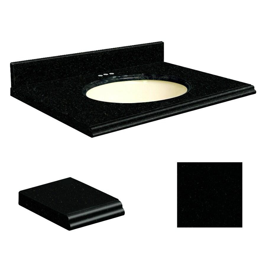 Transolid Absolute Black Granite Undermount Single Sink Bathroom Vanity Top (Common: 37-in x 19-in; Actual: 37-in x 19.25-in)