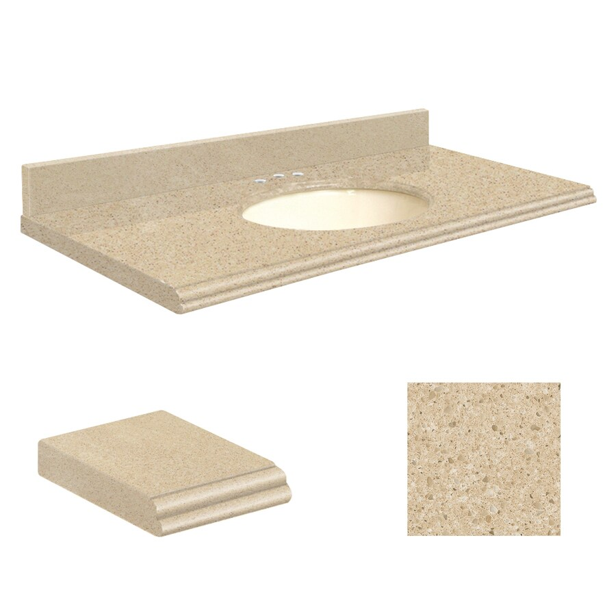 Transolid Durum Cream Quartz Undermount Single Sink Bathroom Vanity Top (Common: 37-in x 19-in; Actual: 37-in x 19.25-in)