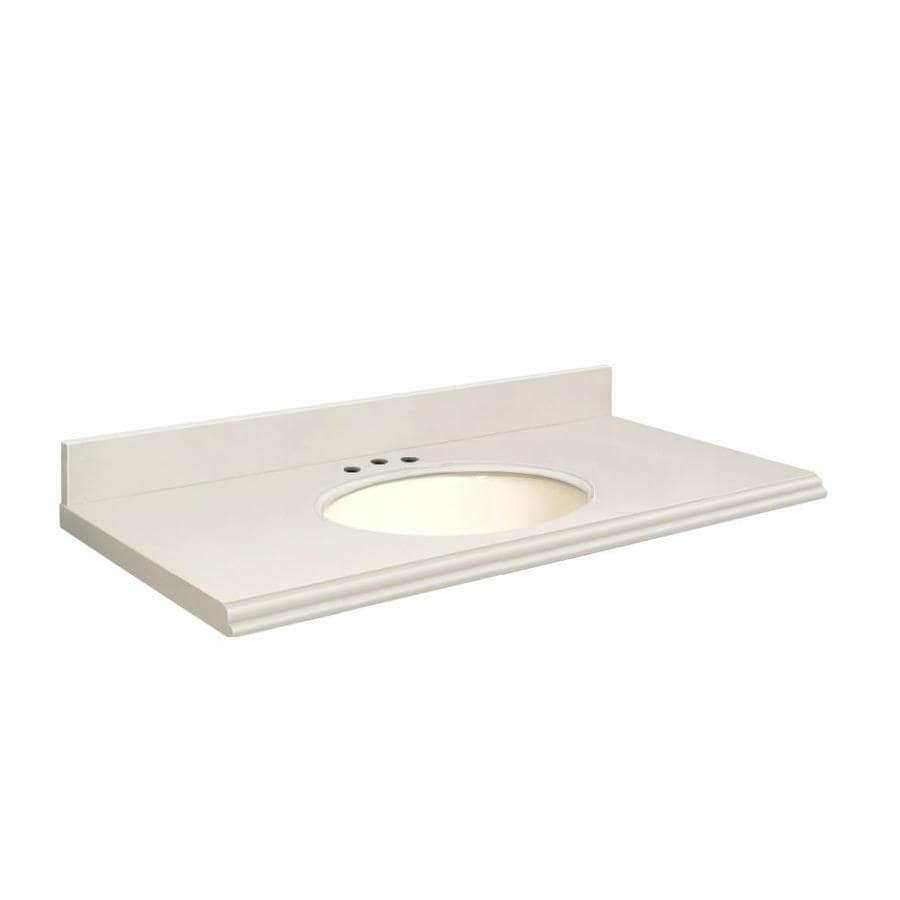 Transolid Milan White Quartz Undermount Single Sink Bathroom Vanity Top (Common: 37-in x 19-in; Actual: 37-in x 19.25-in)