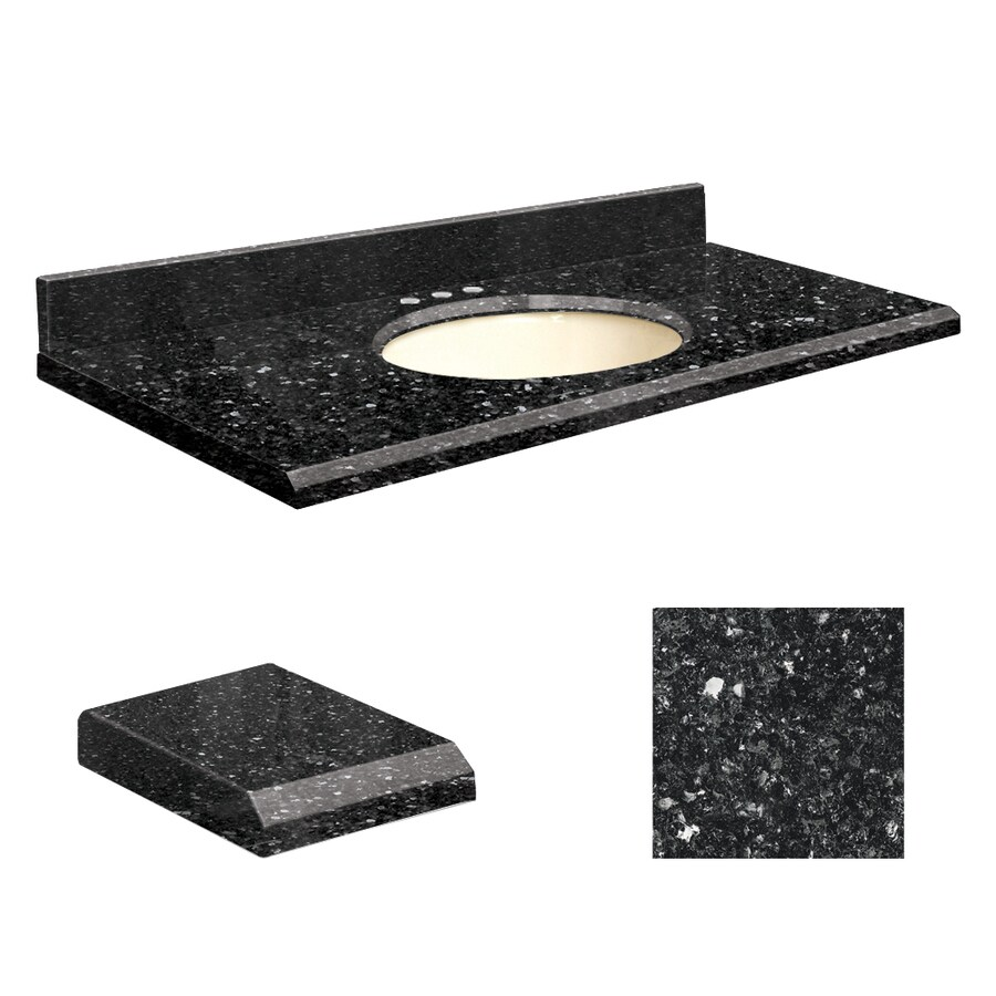 Transolid Notte Black Quartz Undermount Single Sink Bathroom Vanity Top (Common: 37-in x 19-in; Actual: 37-in x 19.25-in)