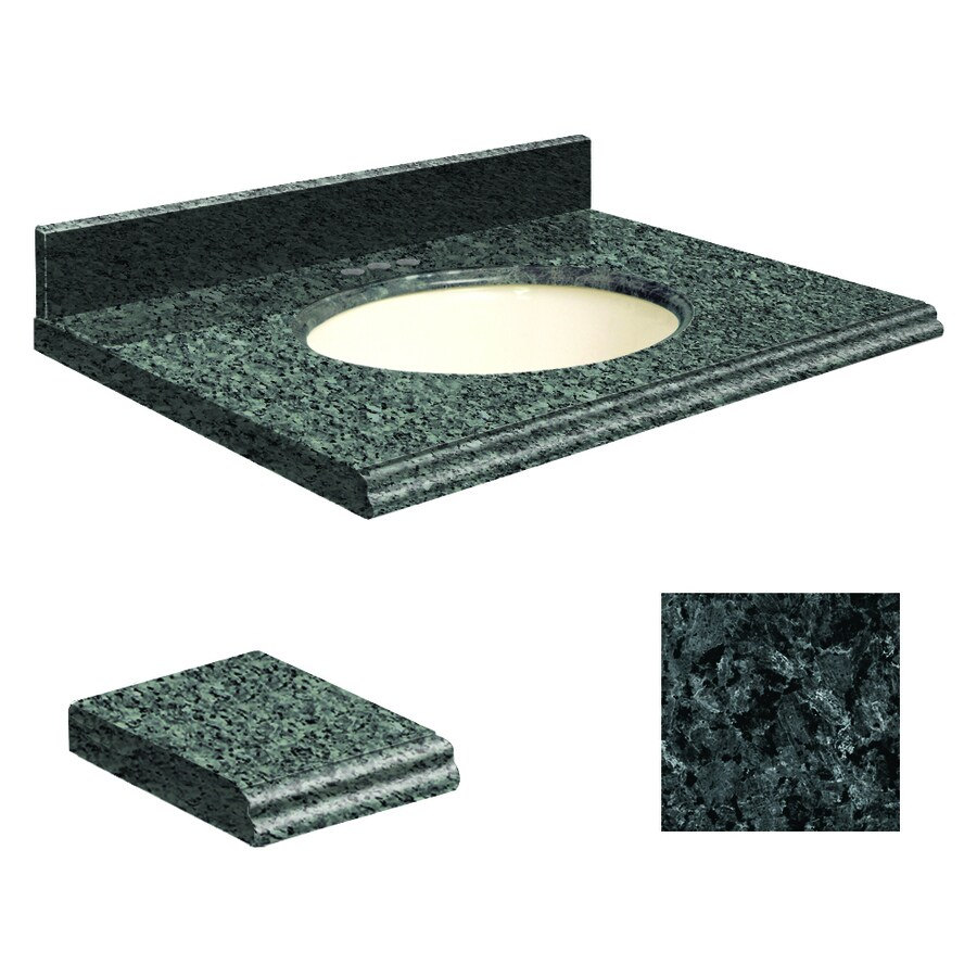 Transolid Blue Pearl Granite Undermount Single Sink Bathroom Vanity Top (Common: 37-in x 22-in; Actual: 37-in x 22.2500-in)