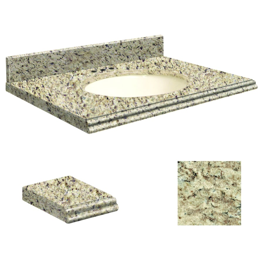 Transolid Giallo Ornamental Granite Undermount Single Sink Bathroom Vanity Top (Common: 37-in x 22-in; Actual: 37-in x 22.25-in)