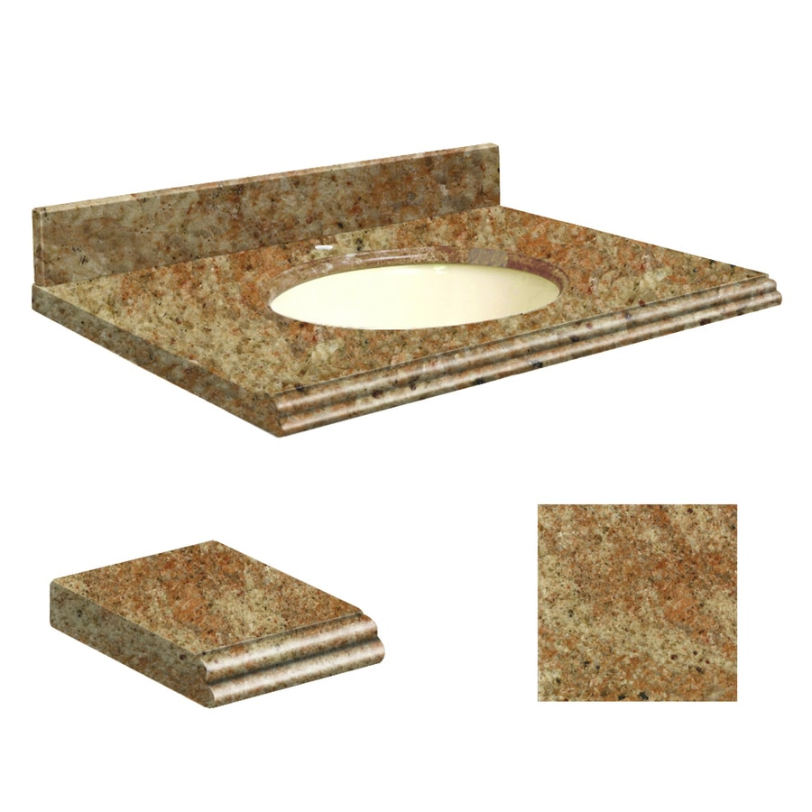Transolid India Gold Granite Undermount Single Sink Bathroom Vanity Top (Common: 37-in x 22-in; Actual: 37-in x 22.2500-in)