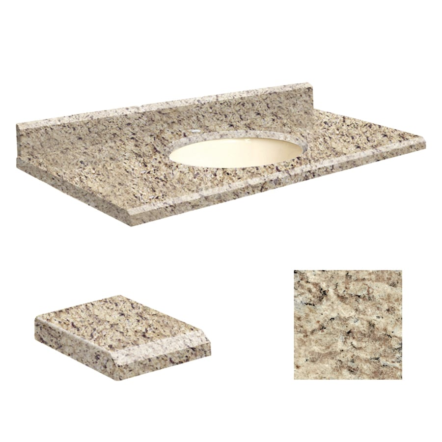 Transolid Giallo Ornamental Granite Undermount Single Sink Bathroom Vanity Top (Common: 43-in x 22-in; Actual: 43-in x 22-in)