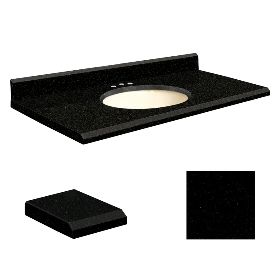 Transolid Absolute Black Granite Undermount Single Sink Bathroom Vanity Top (Common: 43-in x 22-in; Actual: 43-in x 22-in)