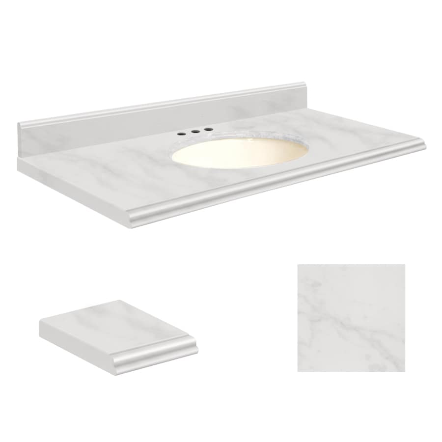 Transolid White Marble Natural Marble Undermount Single Sink Bathroom Vanity Top (Common: 43-in x 22-in; Actual: 43-in x 22-in)