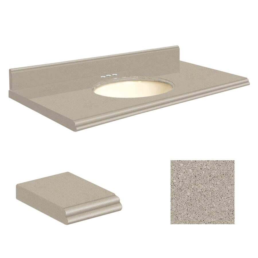 Transolid Olympia Gray Quartz Undermount Single Sink Bathroom Vanity Top (Common: 43-in x 22-in; Actual: 43-in x 22-in)