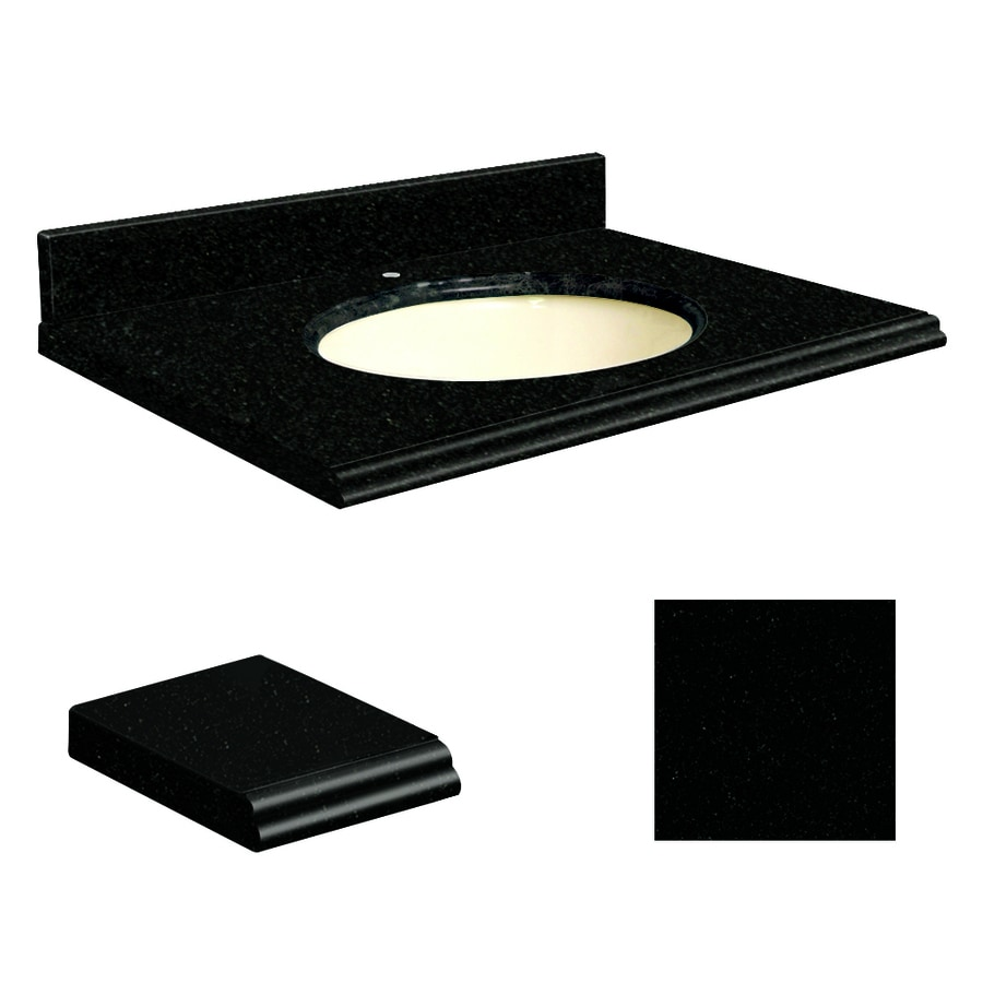 Transolid Absolute Black Granite Undermount Single Sink Bathroom Vanity Top (Common: 49-in x 22-in; Actual: 49-in x 22-in)