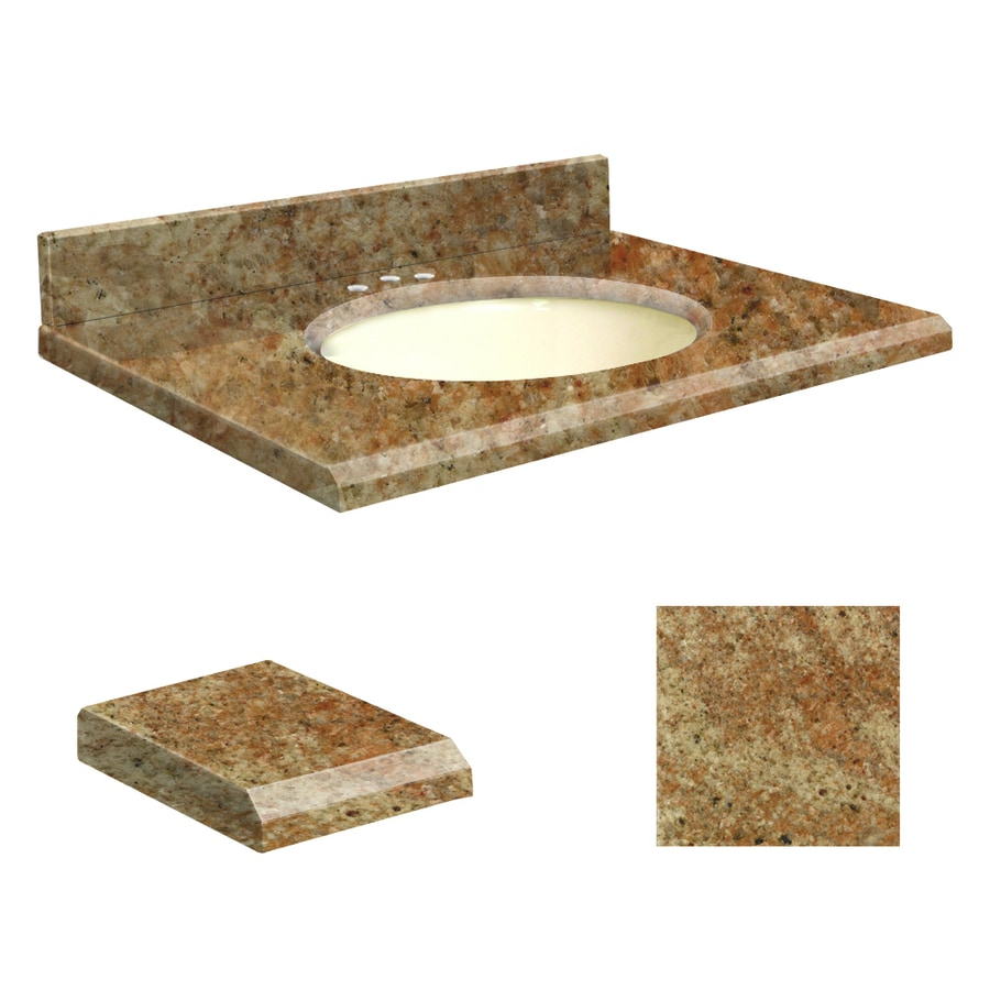 Transolid India Gold Granite Undermount Single Sink Bathroom Vanity Top (Common: 49-in x 22-in; Actual: 49-in x 22-in)