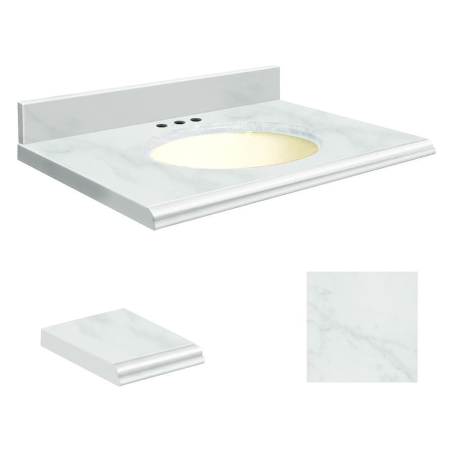 Transolid White Marble Natural Marble Undermount Single Sink Bathroom Vanity Top (Common: 49-in x 22-in; Actual: 49-in x 22-in)
