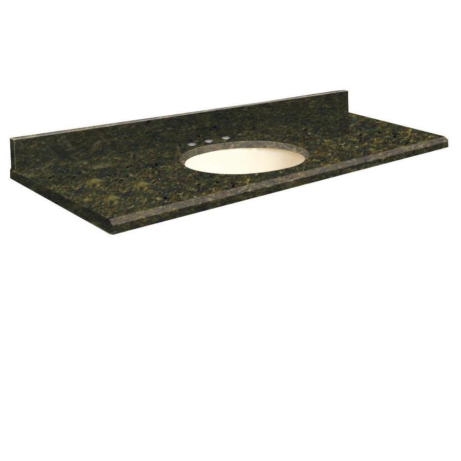 Transolid Uba Verde Granite Undermount Single Sink Bathroom Vanity Top (Common: 61-in x 22-in; Actual: 61-in x 22-in)
