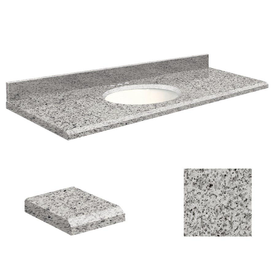 Transolid Rosselin White Granite Undermount Single Sink Bathroom Vanity Top (Common: 61-in x 22-in; Actual: 61-in x 22-in)