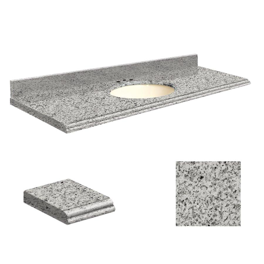 Transolid Rosselin White Granite Undermount Single Sink Bathroom Vanity Top (Common: 61-in x 22-in; Actual: 61-in x 22-in)