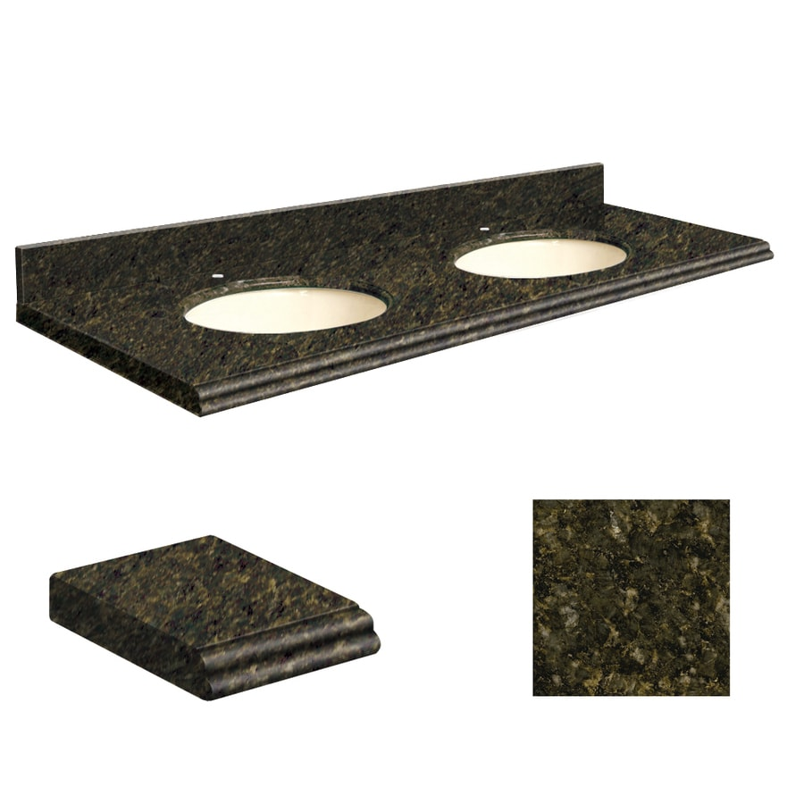 Transolid Uba Verde Granite Undermount Double Sink Bathroom Vanity Top (Common: 61-in x 22-in; Actual: 61-in x 22-in)
