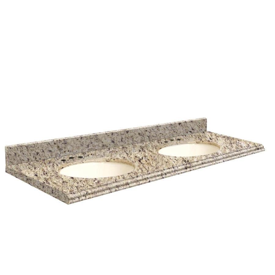 Transolid Giallo Ornamental Granite Undermount Double Sink Bathroom Vanity Top (Common: 61-in x 22-in; Actual: 61-in x 22-in)