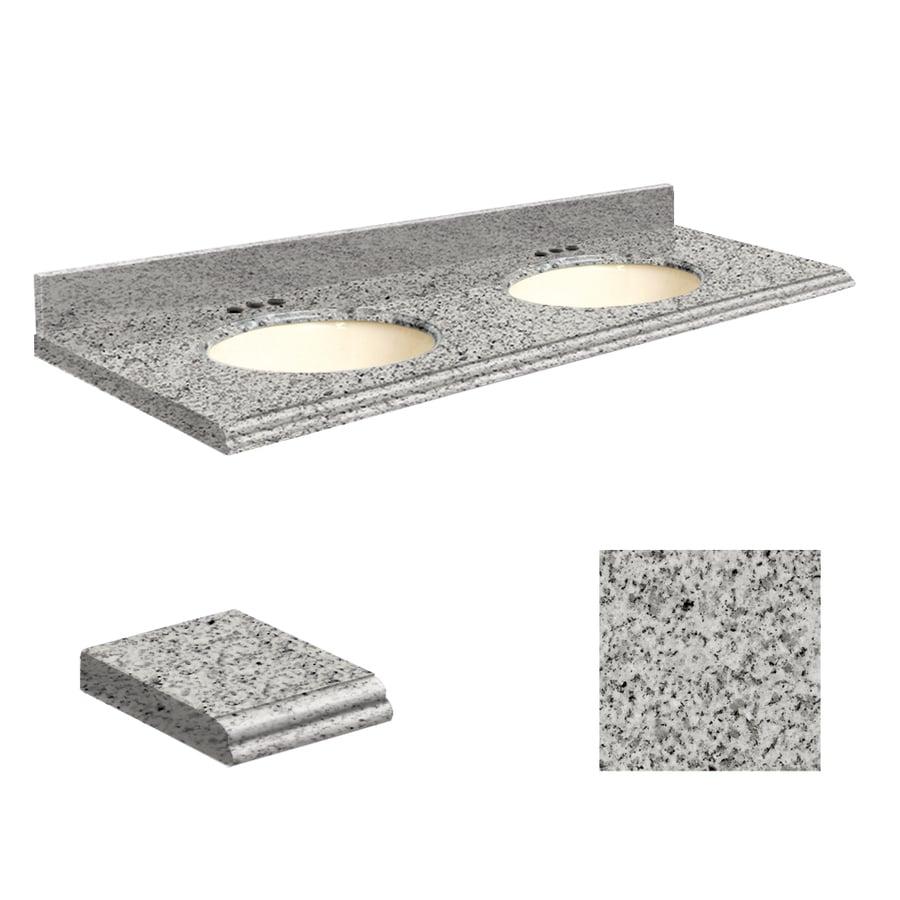 Transolid Rosselin White Granite Undermount Double Sink Bathroom Vanity Top (Common: 61-in x 22-in; Actual: 61-in x 22-in)