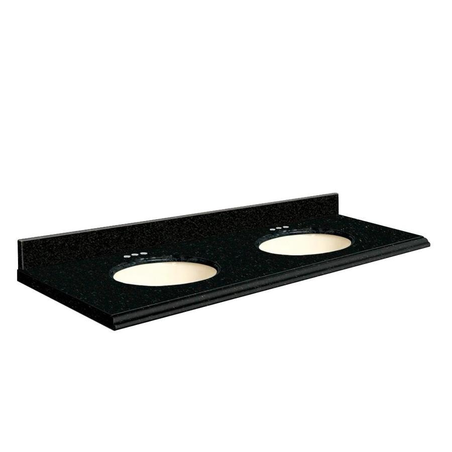 Vanity top common 61 in x 22 in actual 61 in x 22 in at lowes com - Shop Transolid Absolute Black Granite Undermount Double