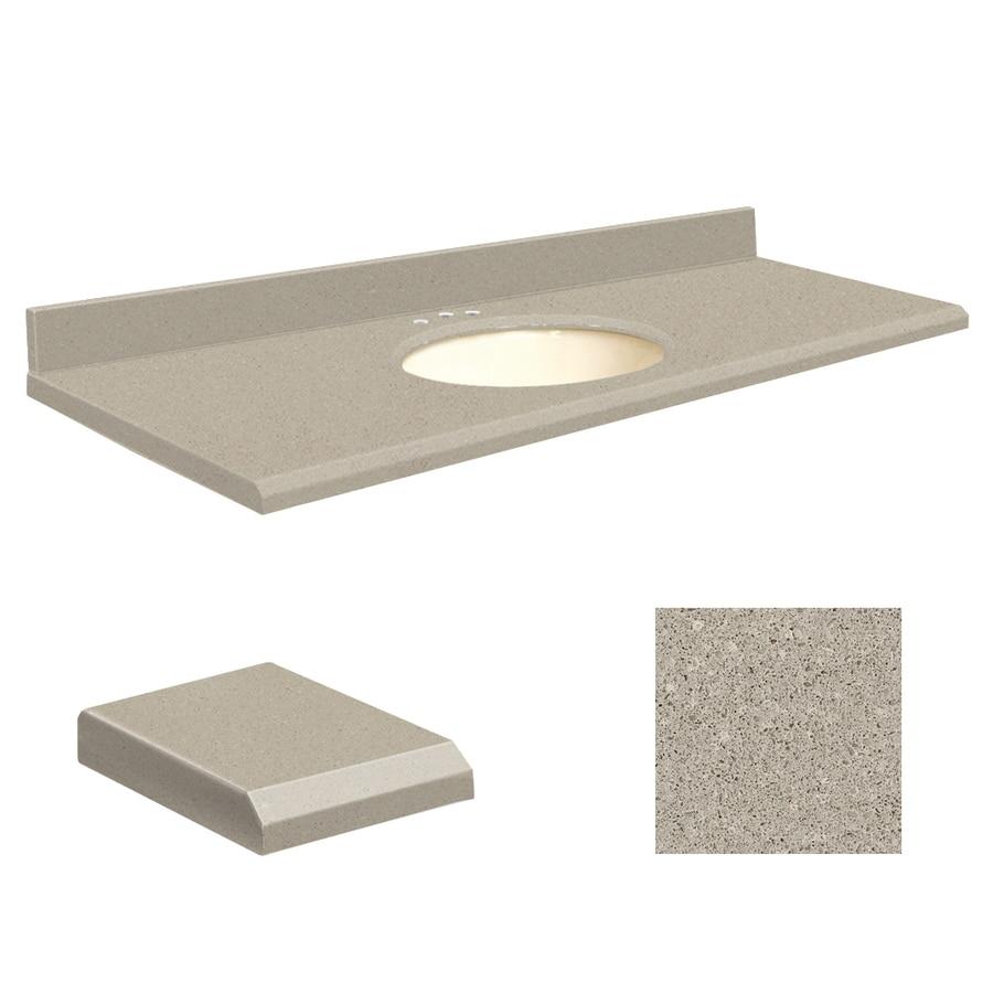 Transolid Olympia Gray Quartz Undermount Single Sink Bathroom Vanity Top (Common: 61-in x 22-in; Actual: 61-in x 22.25-in)