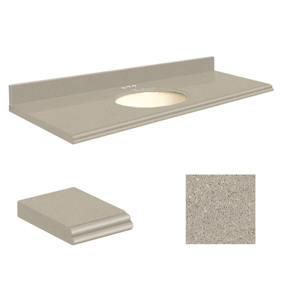 Transolid Olympia Gray Quartz Undermount Single Sink Bathroom Vanity Top (Common: 61-in x 22-in; Actual: 61-in x 22.25-in)
